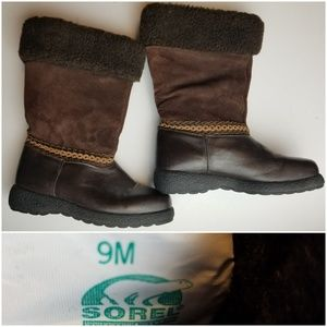 SOREL Leather Suede Lambswool Boots Pull On 9M
